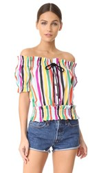 Caroline Constas Peasant Top White Multi