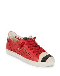 Dolce Vita Punk Calf Fur Trimmed Sneakers Red