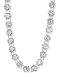 Anne Klein Crystal And Pave Collar Necklace 16 3 Extender Silver