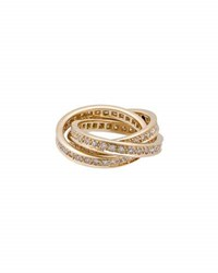 Cartier Estate Trinity De Classic 18K Pave Diamond Triple Band Ring Size 5