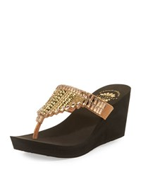 Premium Collection By Yellow Box Elayna Embellished Wedge Sandal Tan