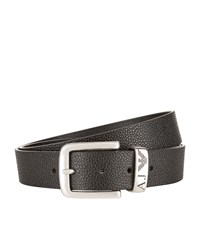 Armani Jeans Pebble Leather Belt Unisex Black