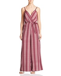Band Of Gypsies Striped Wide Leg Jumpsuit Burgundy Ivory
