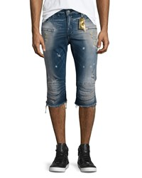 Robin's Jean Motard Distressed Past Knee Denim Shorts Blue Men's