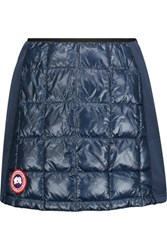 Canada Goose Hybridge Lite Jersey Paneled Quilted Shell Down Mini Skirt Storm Blue