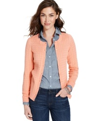 Tommy Hilfiger Long Sleeve Cable Knit Cardigan Peach Amber