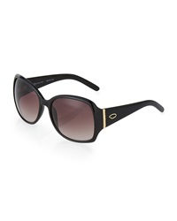O By Oscar De La Renta Oversized Square Plastic Sunglasses Black