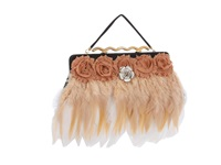 Inspired By Claire Jane Nouveau Nudes Purse White Champagne Rosette Handbags Beige