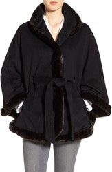 Ellen Tracy Women's Wool Blend Cape With Faux Fur