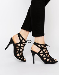 Warehouse Lace Up Caged Heeled Sandals Black