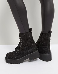 Sixty Seven Sixtyseven Chunky Sole Metallic Lace Up Boot Black Textile