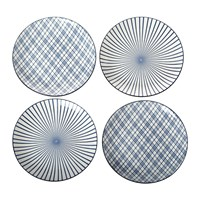 Pols Potten Assorted Check And Stripe Plates Set Of 4