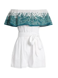 Mara Hoffman Leaf Embroidered Off The Shoulder Playsuit Green White
