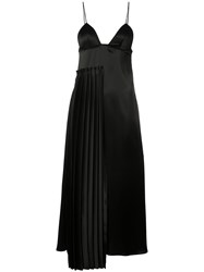 Off White Pleated Dress Women Polyester Triacetate S Black