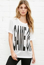 Forever 21 Brashy Game On Mesh Tee White Black