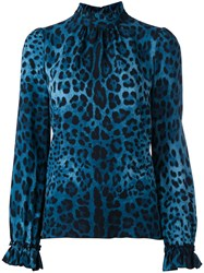 Dolce And Gabbana Vintage Leopard Print Blouse Blue