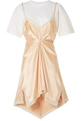 Alexander Wang Layered Lace Trimmed Silk Charmeuse And Cotton Jersey Mini Dress Peach