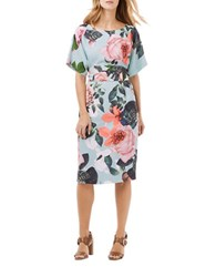 Phase Eight Kimono Sleeve Belted Floral Sheath Dress Sky Multi