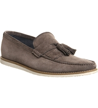 Ask The Missus Approval Wedge Suede Tassel Loafers Grey Suede