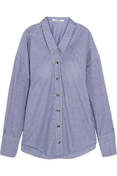 Chalayan Oversized Striped Cotton Poplin Shirt Blue