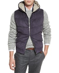 Brunello Cucinelli Suede Quilted Hooded Vest Indigo