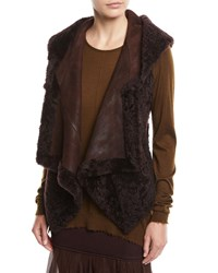 Urban Zen Hooded Suede And Shearling Vest Wine