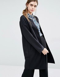 Suncoo Evie Throw On Cocoon Coat Noir Black