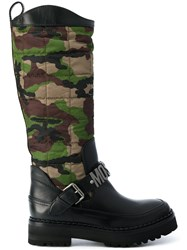 Moschino Camouflage Quilted Boots Leather Nylon Rubber Black