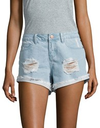 Noisy May Fringed Cotton Shorts Light Blue