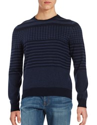 Brooks Brothers Printed Crewneck Sweater Blue