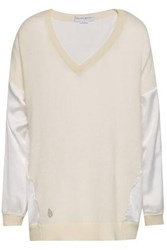 Amanda Wakeley Satin Paneled Cashmere And Wool Bend Top Ivory