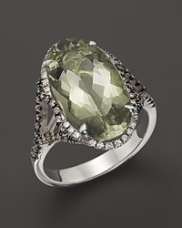 Badgley Mischka Green Amethyst Cocktail Ring With White And Brown Diamonds No Color