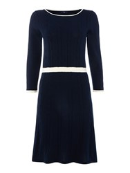 Gant Cable Knit Contast Edging Dress Navy