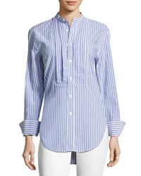 Burberry Striped Stand Collar Shirt With Pintucked Front Blue Pattern