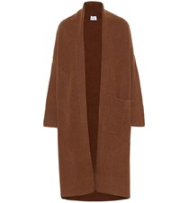 Salvatore Ferragamo Wool And Cashmere Knit Coat Brown