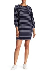 Max Studio Long Sleeve Striped French Terry Dress White