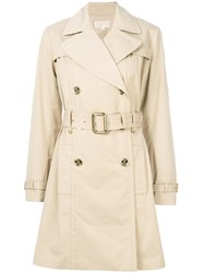 Michael Michael Kors Short Trench Coat Women Cotton Polyester Spandex Elastane M Nude Neutrals