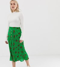 Asos Design Petite Floral Plisse Pleated Midi Skirt With Poppers Green Floral Multi