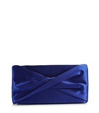 Reiss Beau Satin Satin Clutch Bag In Sapphire