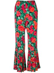 Gucci Rose Pink Print Flared Trousers Women Silk 40