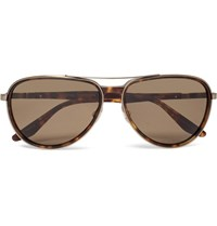 Barton Perreira Gazarri Aviator Style Acetate And Gold Tone Sunglasses Brown