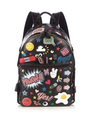 Anya Hindmarch All Over Stickers Mini Leather Backpack Black Multi