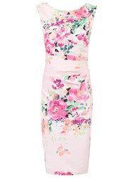 Jolie Moi Floral Printed Ruched Shift Dress Light Pink