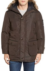 Men's Rainforest 'Ranburne' Thermoluxe Waxed Parka With Faux Fur Trim Carob