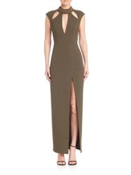 Abs By Allen Schwartz Embellished Cutout Gown Olive