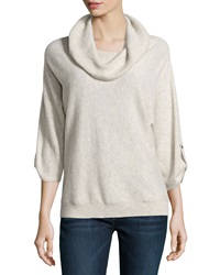 Neiman Marcus Cashmere Cowl Neck Tab Sleeve Pullover Heather Gray