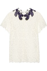 Mary Katrantzou Birk Embroidered Guipure Lace Top White