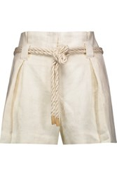 L'agence Edie Linen Shorts Ivory