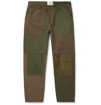 Folk Tapered Cropped Panelled Cotton Canvas And Twill Trousers Green