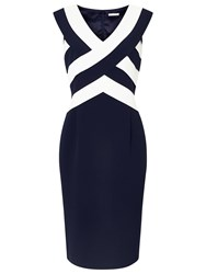 Jacques Vert Panel Layered Shift Dress Navy Multi